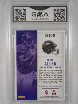 2015 Panini Contenders #116/199 Buck Allen Draft Class Auto Rookie GMA Graded 10