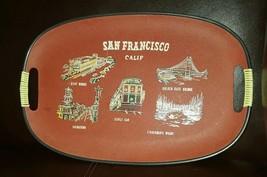 Vintage San Francisco Calif Serving Tray Red Background Side Handles Sou... - $20.78