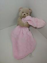 Carters Child Of Mine tan Plush Bear Rattle w/ Security Blanket pink Minky Dot  - $6.92