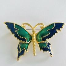 Vintage GoldTone Blue & Green Enamel Butterfly Brooch Pin J0626 - $8.54