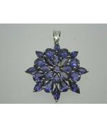 10K Real White Gold Genuine Iolite Pendant ,24 Iolite Lavender Gemstones... - $225.40