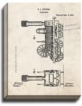 Locomotive Train Patent Print Old Look on Canvas - $39.95+