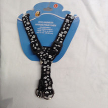 "NEW Dog Harness Black w white paws prints Fits Dogs Chest 18"" to 24"" Lar... - $6.79"