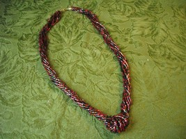 Vintage Necklace Red, Green, Orange Glass Tube Seed Bead Knot Multistran... - $15.95