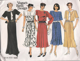 Vogue Pattern 1534 Dress Variations Style and Lengths Size 8.10.12 Uncut... - $4.21