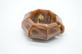"Brown Swirl Lucite Geometric Stretch Vintage Bracelet 1.25"" Width - $24.74"