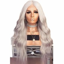 """YLWIG 24"""" Grey Wave Wig for Women Halloween Costume Curly Wigs Synthetic... - $37.16"""