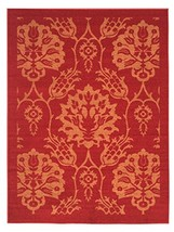 5-feet X 7-feet Non-Skid Rubber Backed Area Rug | RED - GOLD FLORAL Mode... - $48.34