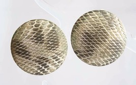 Elegant Art Moderne Snake Texture Gold-tone Pierced Earrings 1980s vintage - $12.30