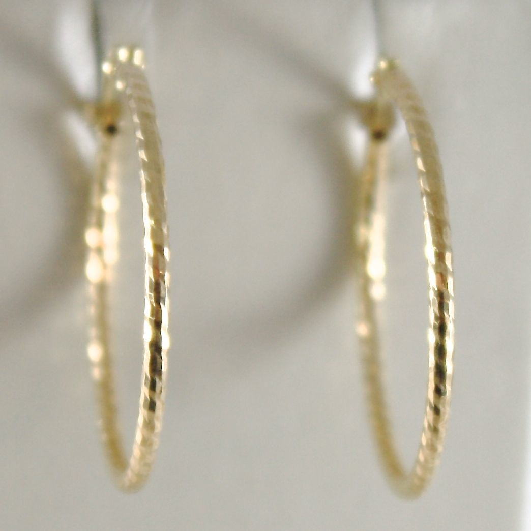 YELLOW GOLD EARRINGS 750 18K CIRCLE, DIAMETER 2.3 CM, HAMMERED, BRIGHT