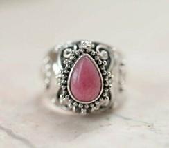 Pink Jasper Ring by Balinese designer, nice handmade 925 Sterling Silver... - $78.21