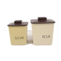 Vintage 70s Mid Century Modern MCM Pair (2) of Canisters Lids Flour Suga... - $69.25