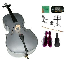 1/4 Size Silver Cello,Hard Case,Soft Bag,Bow,Strings,Metro Tuner,2 Stand... - $219.99