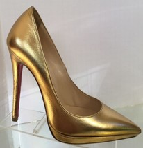 NEW Christian Louboutin Pigalle 120 Metallic Pointy Toe Pumps (Size 37) - $799.95