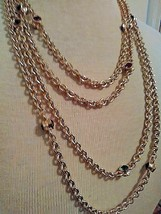 "Vintage Golden 98"" Long Chain W/ Faux Multicolor Gem Stations - $95.00"