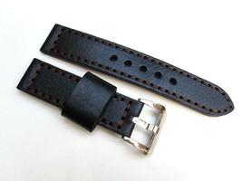 22MM Handmade Italian Calf Black Oem Strap PRE-V Polished Buckle Fit Panerai - $44.37