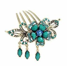 Classical Style Hair Comb Metal Pendant Rhinestones Hair Decoration, Blue