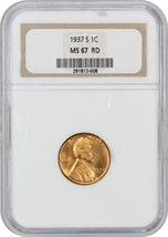 1937-S 1c NGC MS67 RD - Lincoln Cent - $295.85