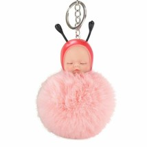 Fluffy Keychain Cute Baby Bee Sleep Ball Car Key Rings Pendant Handbag B... - $8.05