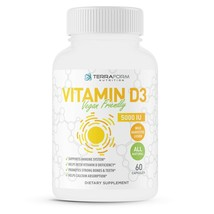 Teraform Nutrition Natural Vitamin D3 - 5000IU Vegan & Vegetarian Friendly - 2 M - $14.99