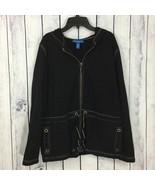 Karen Scott Sport Womens Hoodie Jacket Size Medium M Black Zip Front Dra... - $17.99