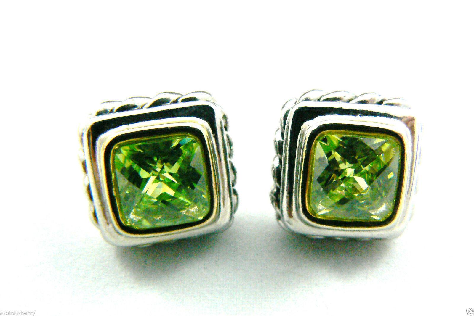 Silver tone Faceted Green Peridot CZ Cubic Zirconia stud earrings $0 sh new image 7