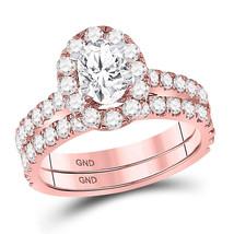 14kt Rose Gold Oval Diamond Bridal Wedding Engagement Ring Band Set 1-7/8 Ctw - $4,998.00
