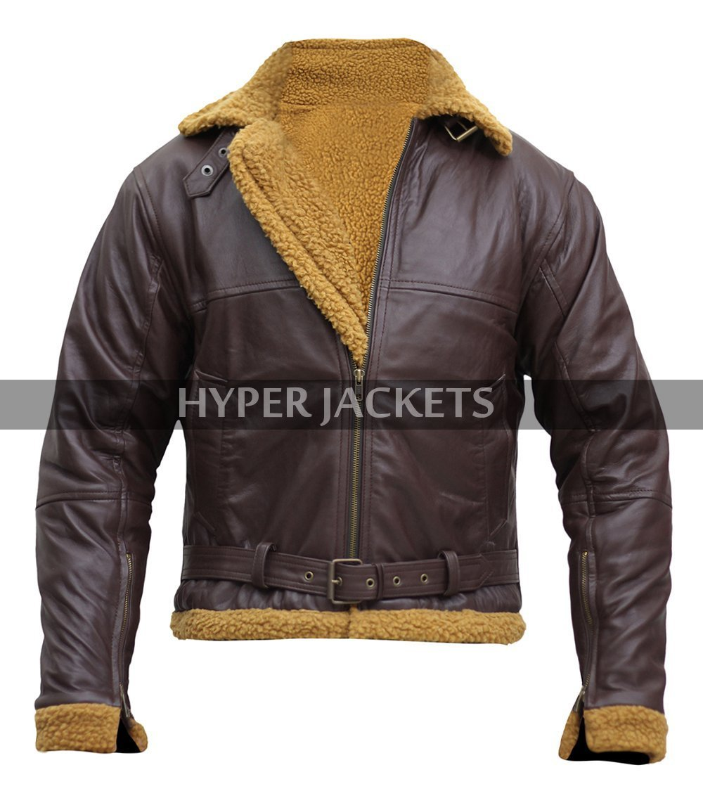 Mens b3 brown shearling jacket