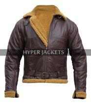 B3 Ginger Aviator Shearling Flying Pilot Real Sheepskin Bomber Leather Jacket image 1