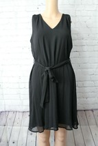 Calvin Klein Black V Neck Dress Sheer with Liner Casual Chic Womens Fash... - $27.00