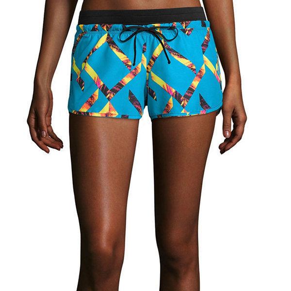 City Streets Woven Shorts Juniors Size M, L Msrp $32.00 Blue-yellow Tetris New - $12.99