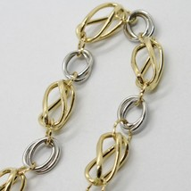 18K WHITE & YELLOW GOLD BRACELET ALTERNATE FINELY WORKED TWISTED OVAL LINK image 2