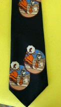 Vtg 1970's Sears The Mens Store  Pop Art Lady Dog black Necktie Tie polyester - $14.84