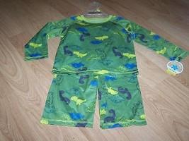 Size 24 Months Carter's Pajamas Set Pants Shirt Top Green Dino Dinosaur ... - $12.00
