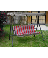 Swing With Canopy Adjustable Top Porch Patio Bench Steel Frame Stand 3 S... - $144.52