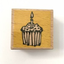 Vap Scrap CUPCAKE & CANDLE Rubber Stamp Birthday Celebration Party Cake Wood Mtd - $2.97