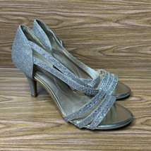 Bandolino Meggie Womens Heels Size 6M Silver Glitter Rhinestones Open Toes - $14.78