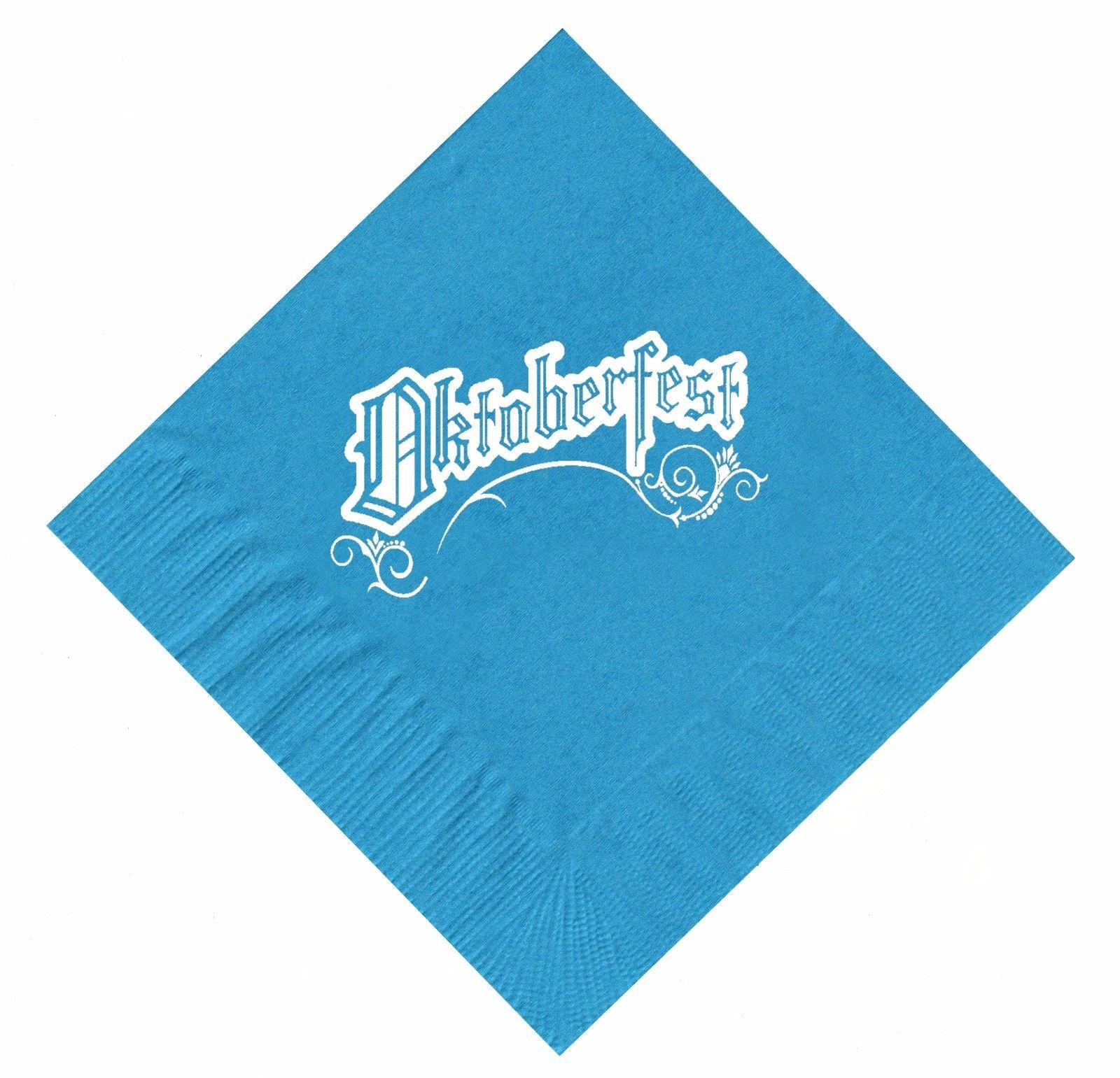 25 Turquoise Oktoberfest Beverage Paper Cocktail Napkins with a White Logo