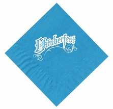 25 Turquoise Oktoberfest Beverage Paper Cocktail Napkins with a White Logo - $8.90