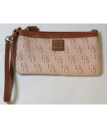 Dooney & Bourke Wristlet clutch canvas & leather DB pink brown pre owned - $42.76