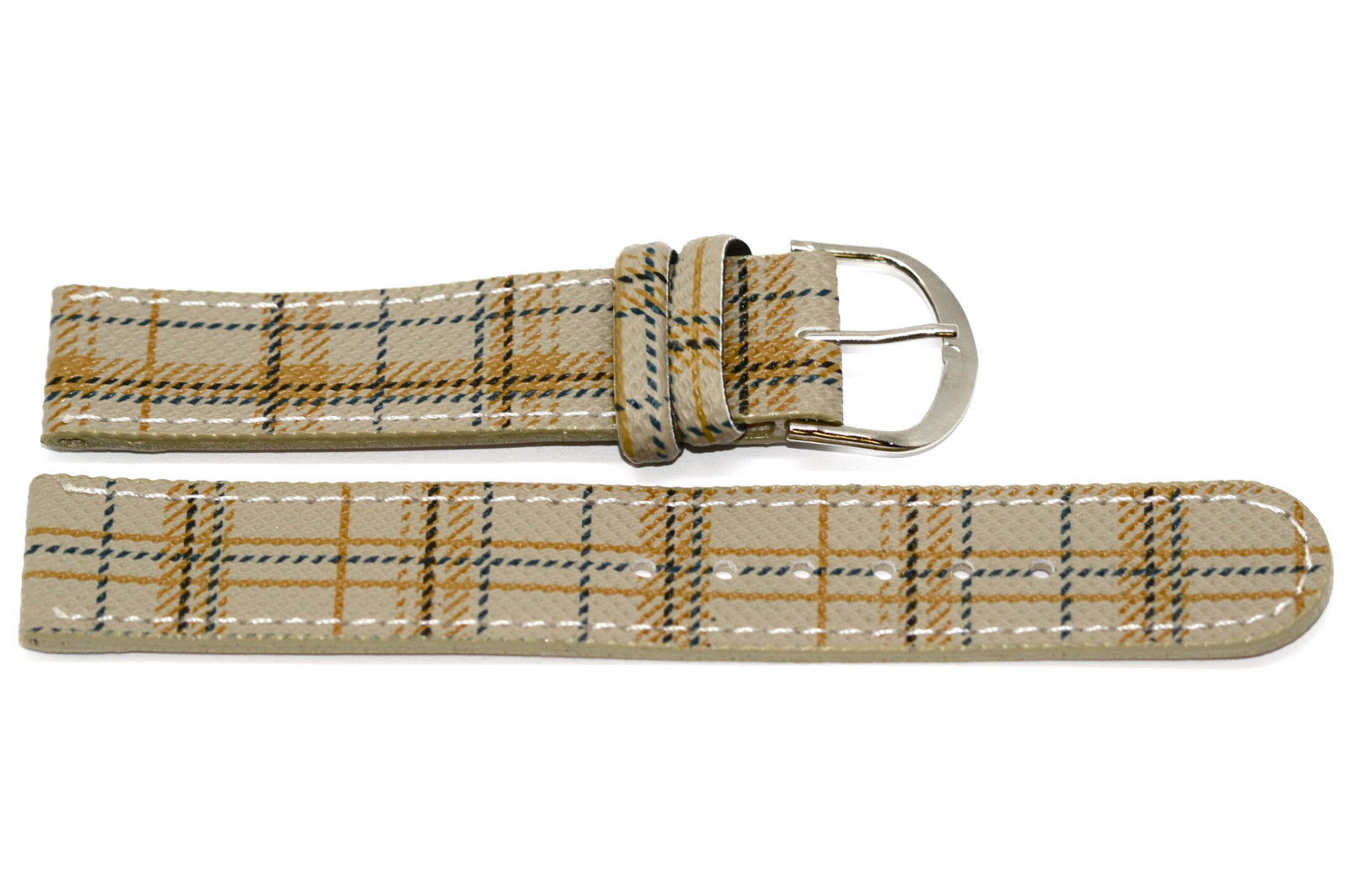 18mm Taupe Plaid Print Stitched Watch Band Strap