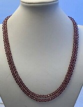 """44"""" Purple 6mm Crystal Necklace strung on White thread - $18.32"""