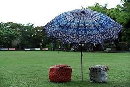 Indian Garden Parasol Outdoor Peacock Mandala Cotton Sun Shade Fabric Um... - $139.13 CAD