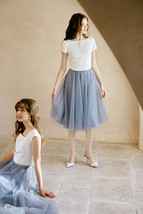 Gray High Waisted Midi Tulle Skirt Outfit Softest Tulle Wedding Skirt Plus Size image 2