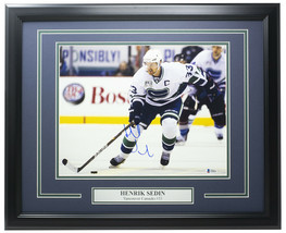 Henrik Sedin Signed Framed 11x14 Vancouver Canucks Hockey Photo BAS - $158.39