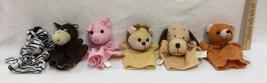 Hand Puppets Animals Soft Fabric Plush Set 6 Pig Dog Bear Lion Zebra & D... - $13.85