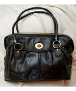 Coach Addison Textured Black Spectator Leather Laptop Travel Business To... - $128.70