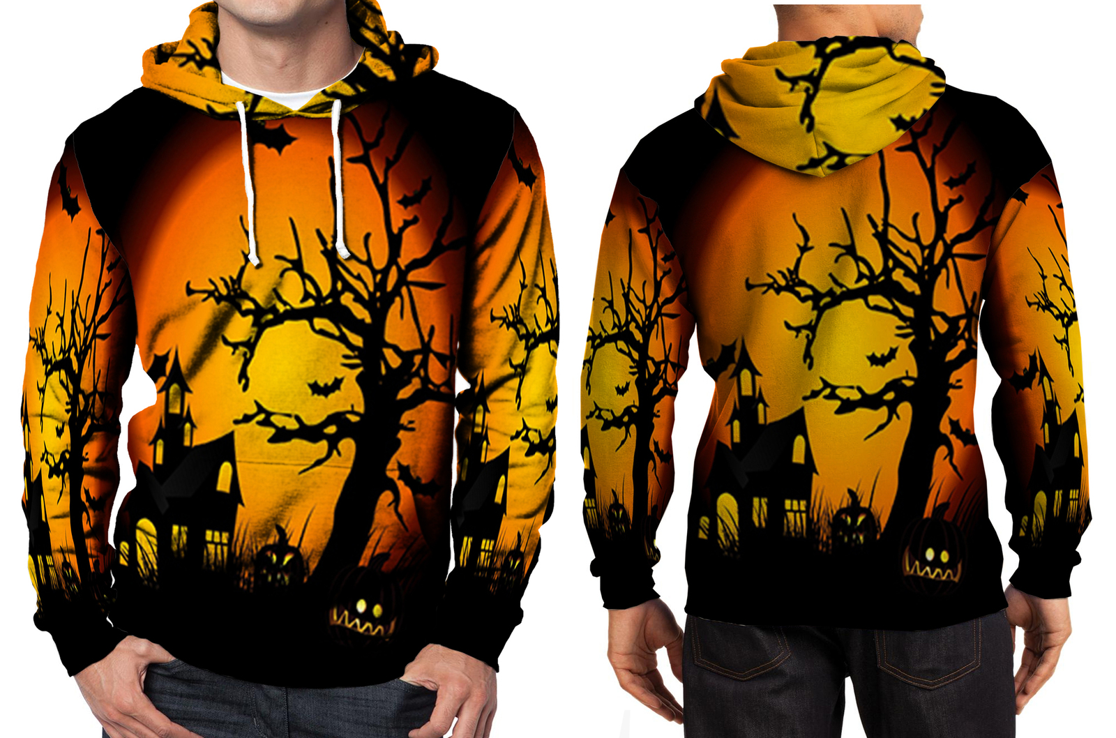 Halloween haunted hoodie men s