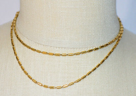Crown TRIFARI Gold Barrel Bead Beaded Link Long Necklace Vintage - $39.59