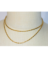 Crown TRIFARI Gold Barrel Bead Beaded Link Long Necklace Vintage - $39.59